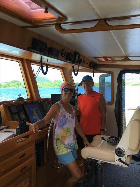 Paulette & John on the bridge of M/V Seamantha