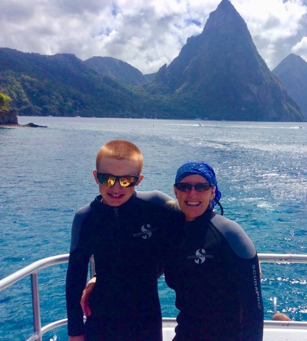 Ryan and Theresa in the shadow of the Pitons, diving in St. Lucia (Jan. 2018)