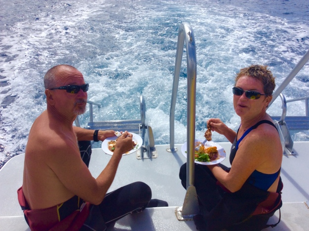 Marty and Suzanne (M/V Alizann) enjoying lunch lunch between dives in St. Lucia (Jan. 2018)