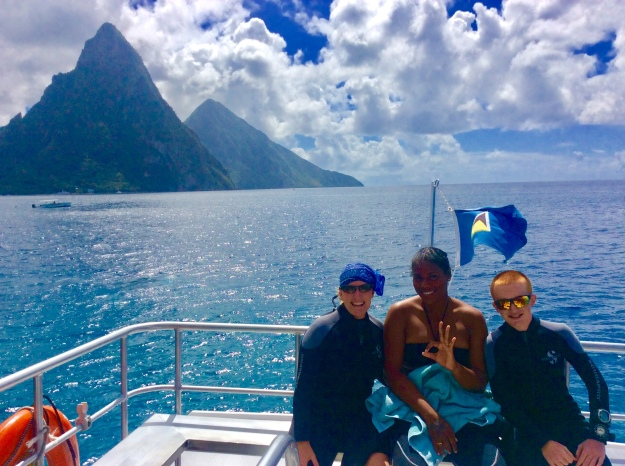 Theresa, Wendy (dive instructor) & Ryan in front of the Pitons, St. Lucia (Jan. 2018)