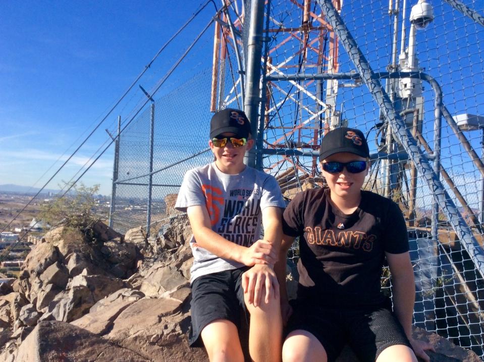 Ryan & Ronan atop Mount Tempe, AZ (Jan. 2018)