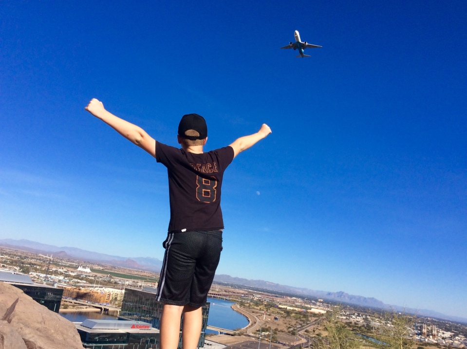 Ronan atop Mount Tempe, AZ (flight landing approach to PHX) (Jan. 2018)