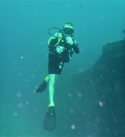 Ryan exploring the Lesleen M Wreck in St. Lucia (Jan. 2018)