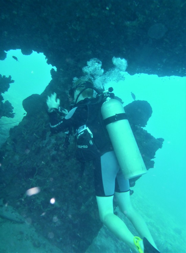 Ryan exploring the rudder of the Lesleen M Wreck in St. Lucia (Jan. 2018)