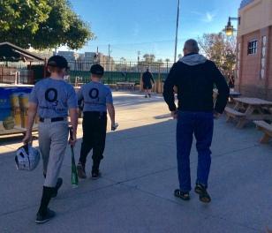 Ryan, Ronan & Randy, heading to the field (Jan. 2018)