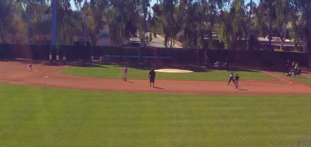 Infield station - Ryan and Brandon Crawford at short stop & Ronan at 3rd base