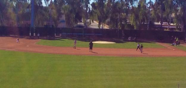 Infield station - Ryan and Brandon Crawford at short stop & Ronan at 3rd base