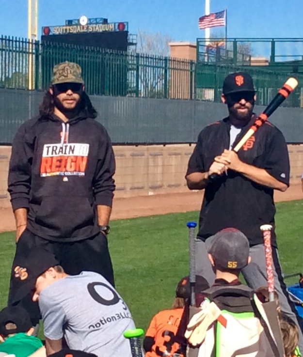 San Fracisco Giants' shortstop Brandon Crawford and Coach Chad Chopp (Jan. 2018)
