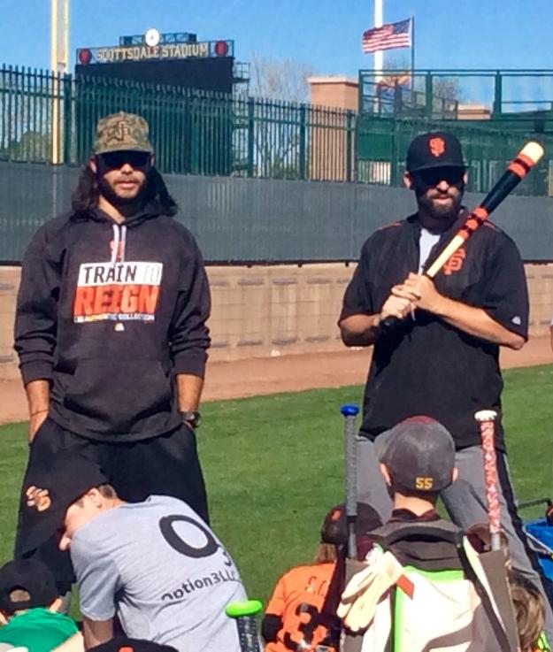 San Fracisco Giants' shortstop Brandon Crawford and Coach Chad Chopp (Jan. 2018)