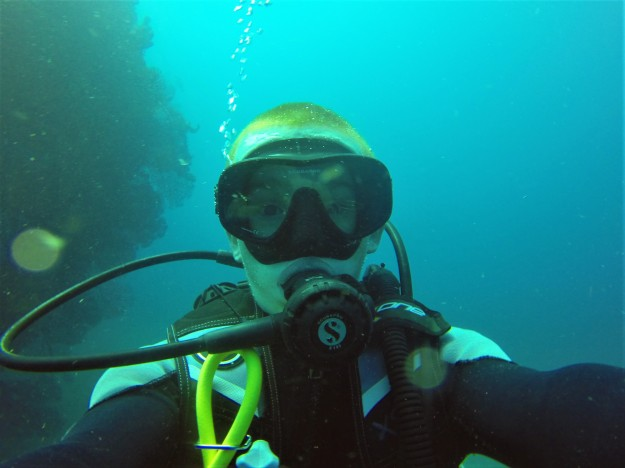 Ryan diving the Lesleen M Wreck in St. Lucia - 65 ft below sea level (Jan. 2018)