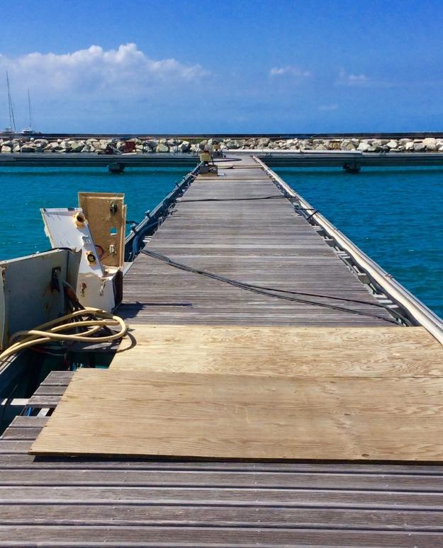 Damaged docks, Fort Louis Marina, St. Martin (March 2018)
