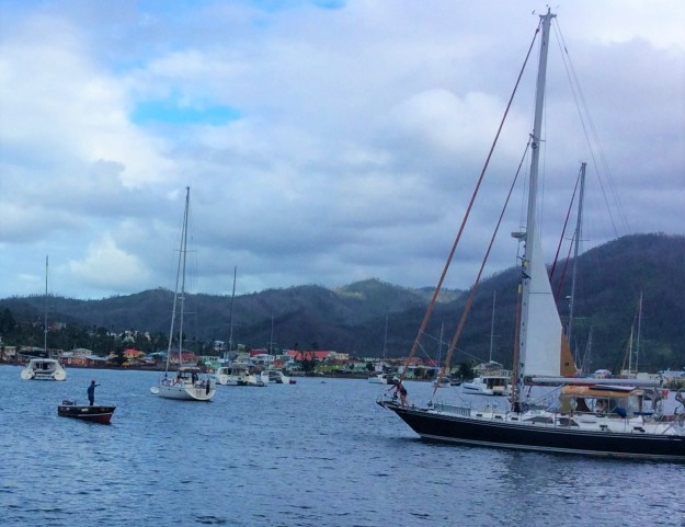 PAYS member guiding sailboat to mooring, Portsmouth, Dominica (2018)
