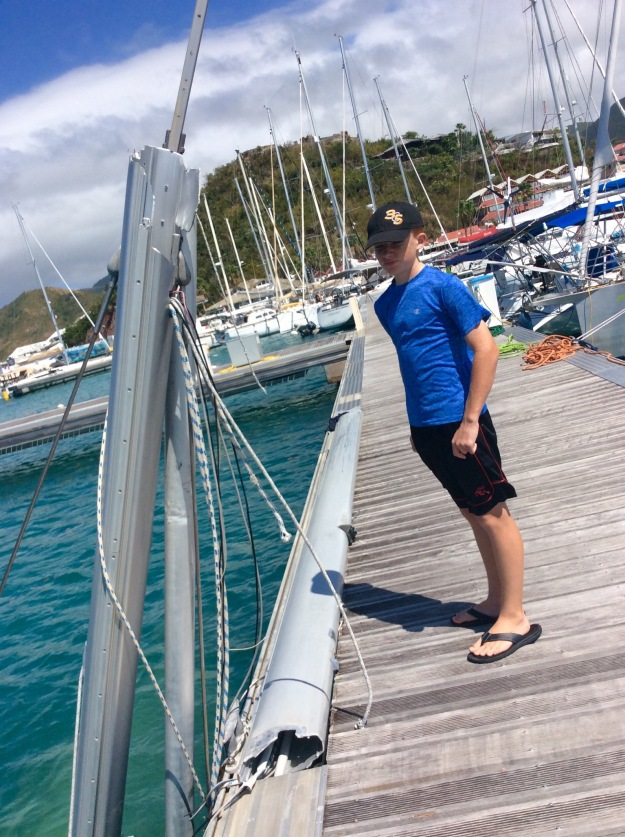 Ryan looking over the sunken vessels, Fort Louis Marina, St. Martin (March 2018)