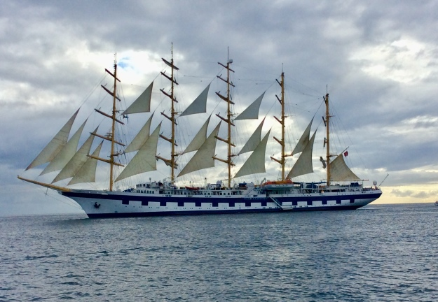 Sailing Cruise Ship, Star Clipper getting uderway, Portsmouth, Dominica (2018)