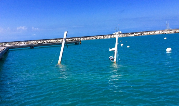 Sunken vessle, Fort Louis Marina, St. Martin (March 2018)