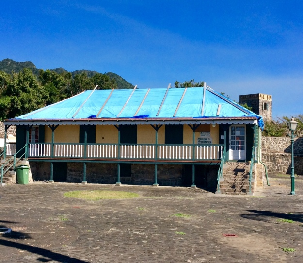 Missing roof on building in Fort Oranje, St. Eustatius (Dutch Caribbean)