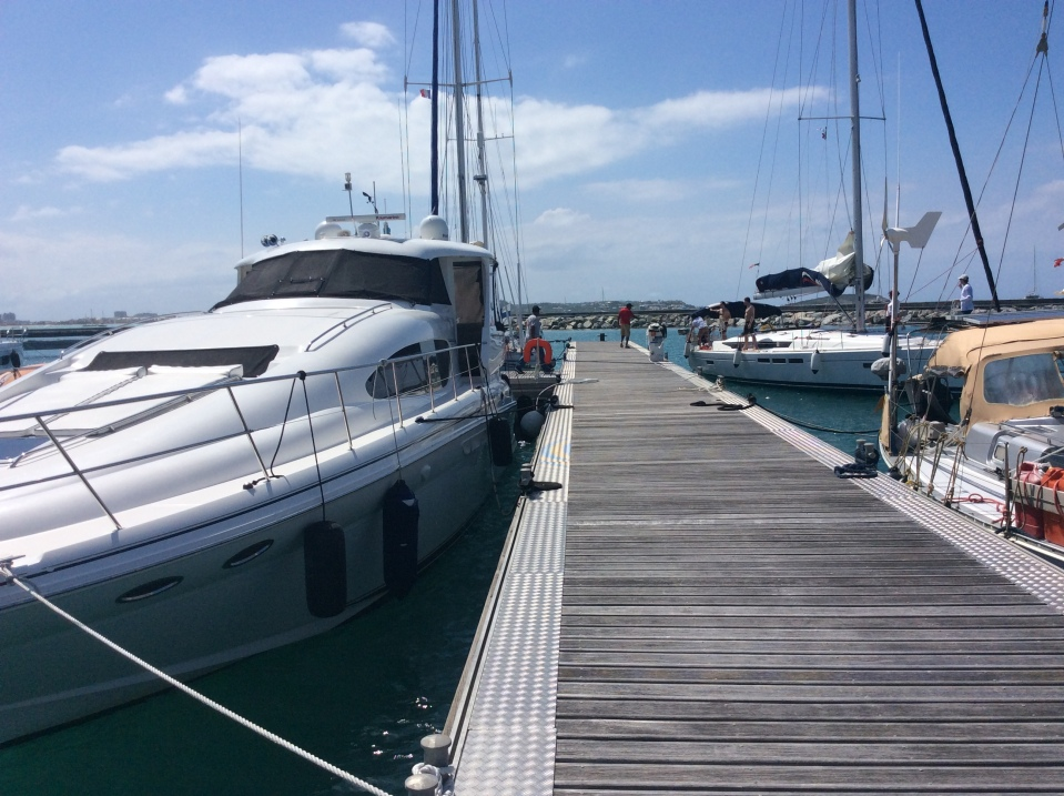 Pilots' Discretion in her slip (floating docks), Fort Louis Marina, St. Martin (March 2018)