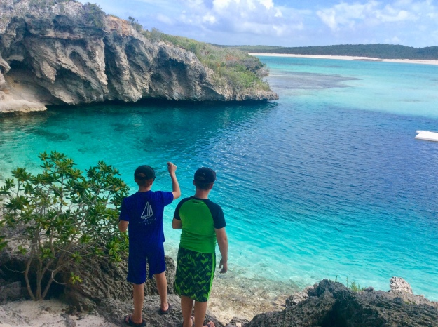 Ryan & Ronan at Dean's Blue Hole, Long Island, Bahamas