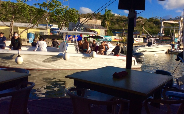 Boat pulling up to Mamacita's Culebra, Puerto Rico