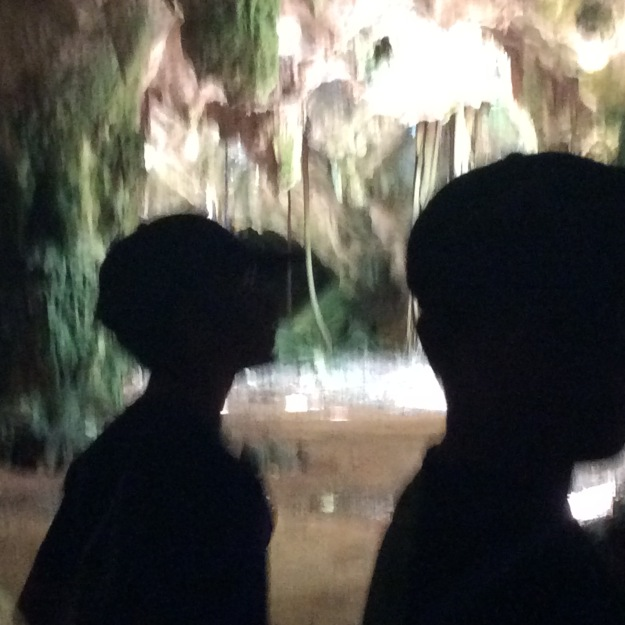 Ryan & Ronan exploring the cave, Long Island, Bahamas