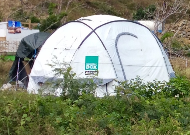 Relief tent in a box, Jost Van Dyke, BVIs (March 2018)