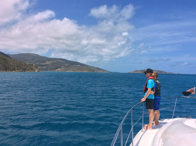 Ryan & Ronan surveying the hurricane damage, Gorda Sound, Virgin Gorda, BVIs (March 2018)