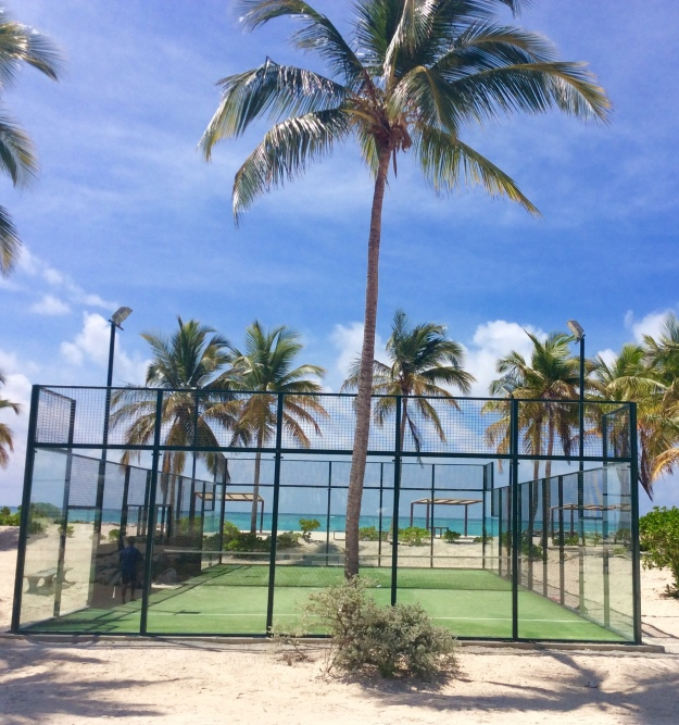 Beachside tennis courts, Cap Cana Marina, Dominican Republic