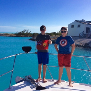 Ryan & Ronan hoisting the Turks & Caicos courtesey flag (2018)