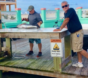 Fish cleaning station at Flying Fish Marina, Long Island, Bahamas