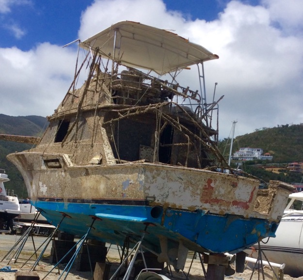 Salvaged vessel in the boat yard, Nanny Cay, Tortola, BVI (March 2018)