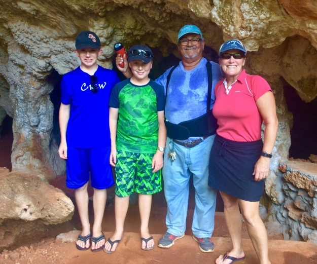 Ryan, Ronan, Leonard (our guide) and Theresa, Cave, Long Island, Bahamas
