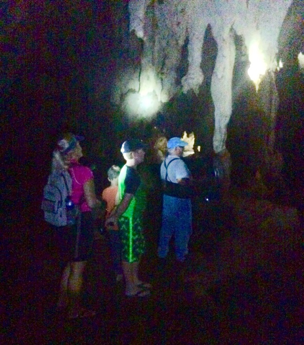 Theresa, Ronan & Leonard (guide) observing the bats in the cave, Long Island, Bahamas