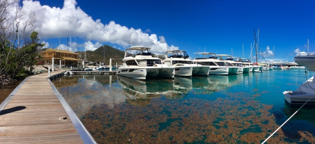 New fleet of Marine Max Power Cats in new Nanny Cay Marina, Tortola, BVI (March 2018)