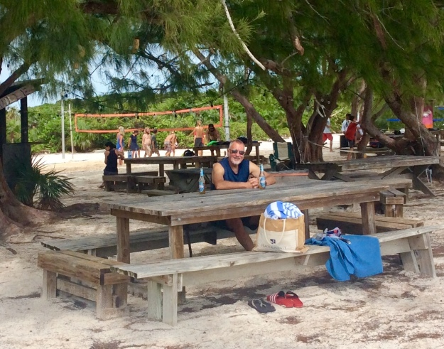 Randy chilling at Chat 'N' Chill, Volley Ball Beach, Stocking Island, Exuma, Bahamas