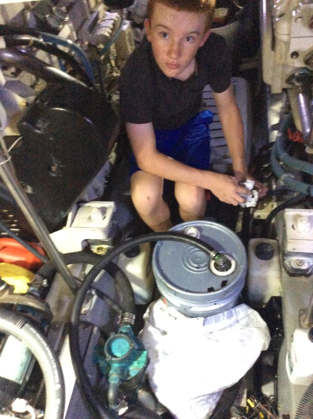 Ryan pumping the old fuel out of the generator