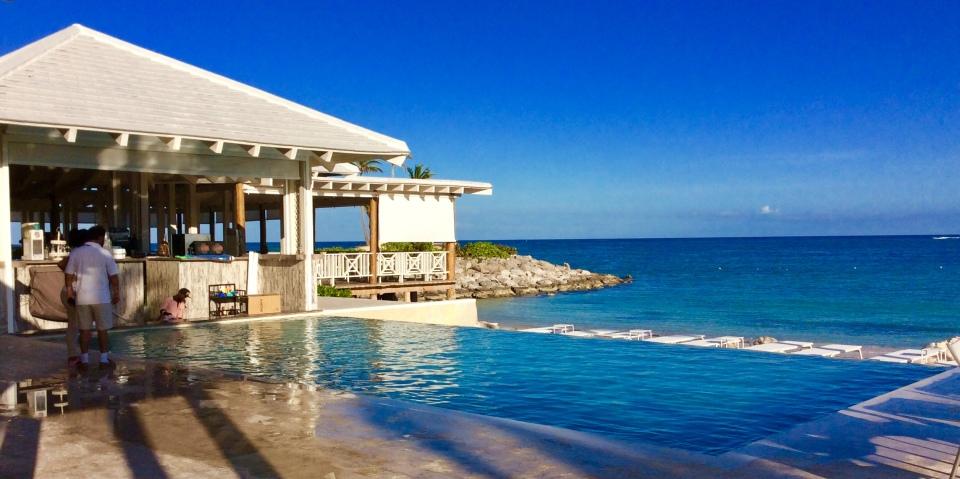 Waterside dining & infinity pool, Cap Cana Marina, Dominican Republic