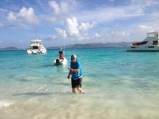 Scott & Randy walking ashore to the Soggy Dollar, White Bay, Jost Van Dyke, BVIs (March 2018)