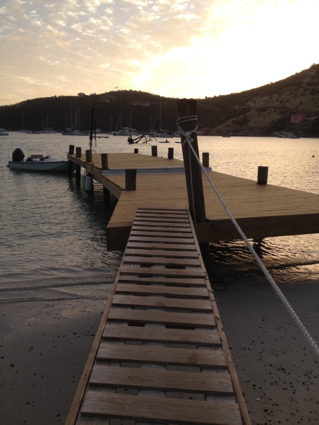 New dinghy dock in front of Foxy's, Great Harbor, Jost Van Dyke, BVIs, (March 2018)