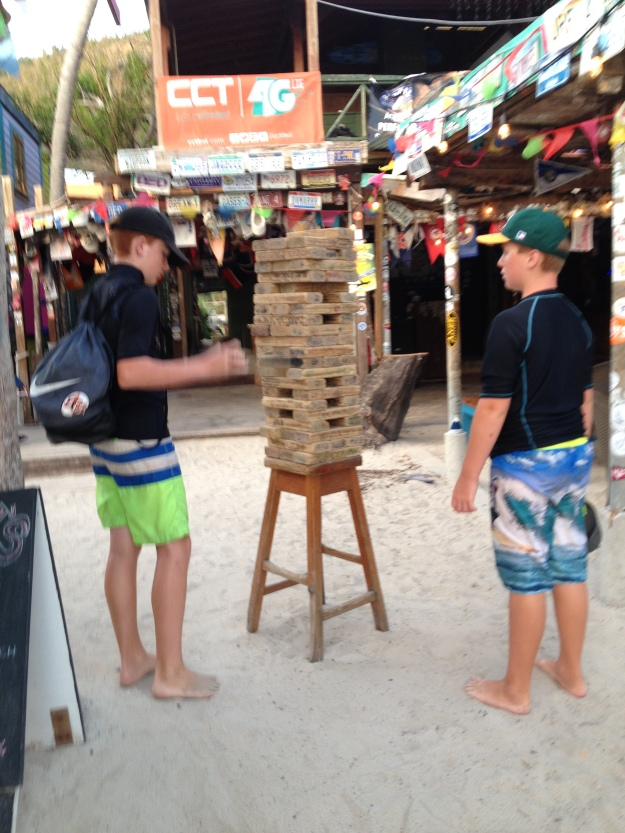 Ryan & Ronan, Jenga at Foxy's, Great Harbor, Jost Van Dyke, BVIs, (March 2018)