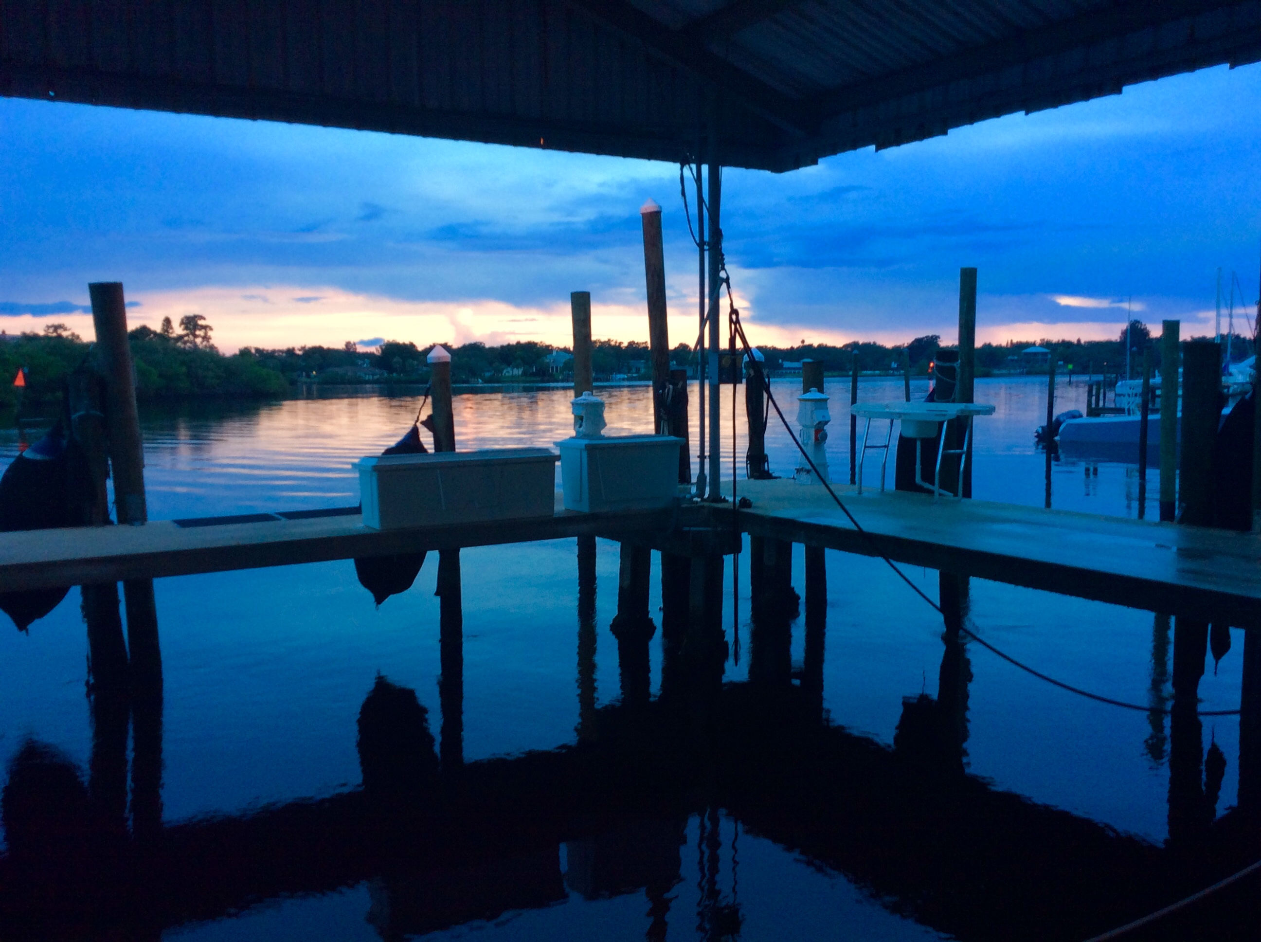 Sunset from Pilots' Discretion, back in her home port slip at Port Tarpon Marina