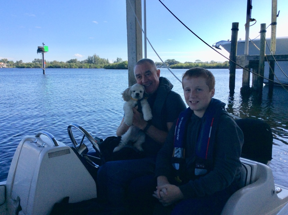 Marlow's 1st ride in the dinghy; Marlow, Randy & Ronan