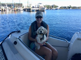 Marlow's 1st ride in the dinghy; Marlow & Theresa