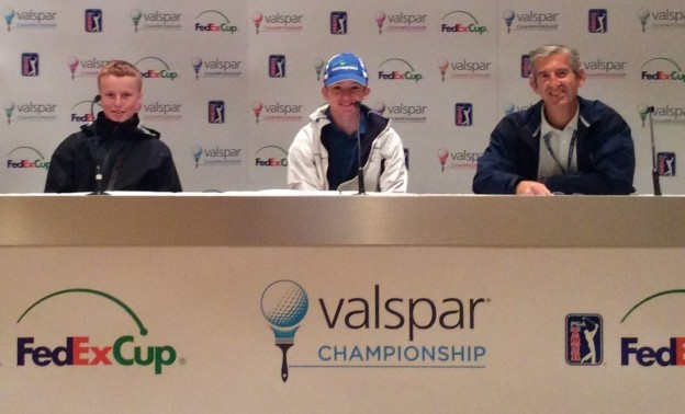 Ronan, Ryan, and Doug Milne (PGA Tour Sr. Media Manager) in PGA Media Center (March 2019)