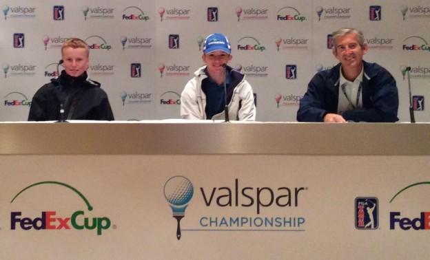 Ronan, Ryan, and Doug Milne (PGA Tour Sr. Media Manager) in PGA Media Center (March 2019)
