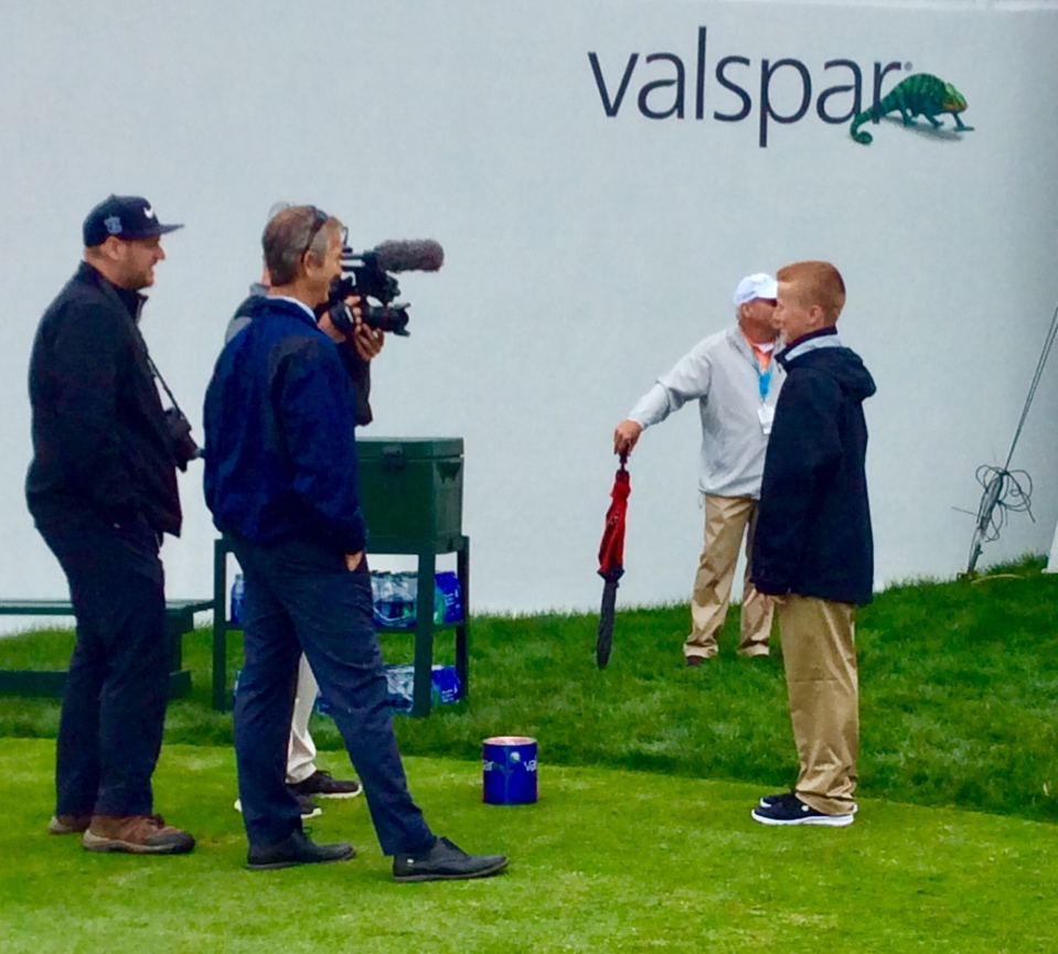Ronan being interviewed on the 18th hole at the 2019 PGA Valspar Championship