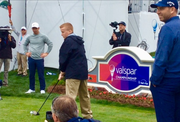 Ronan prepares to drive on the 18th (with Paul Casey and Sergio Garcia looking on) (March 2019)