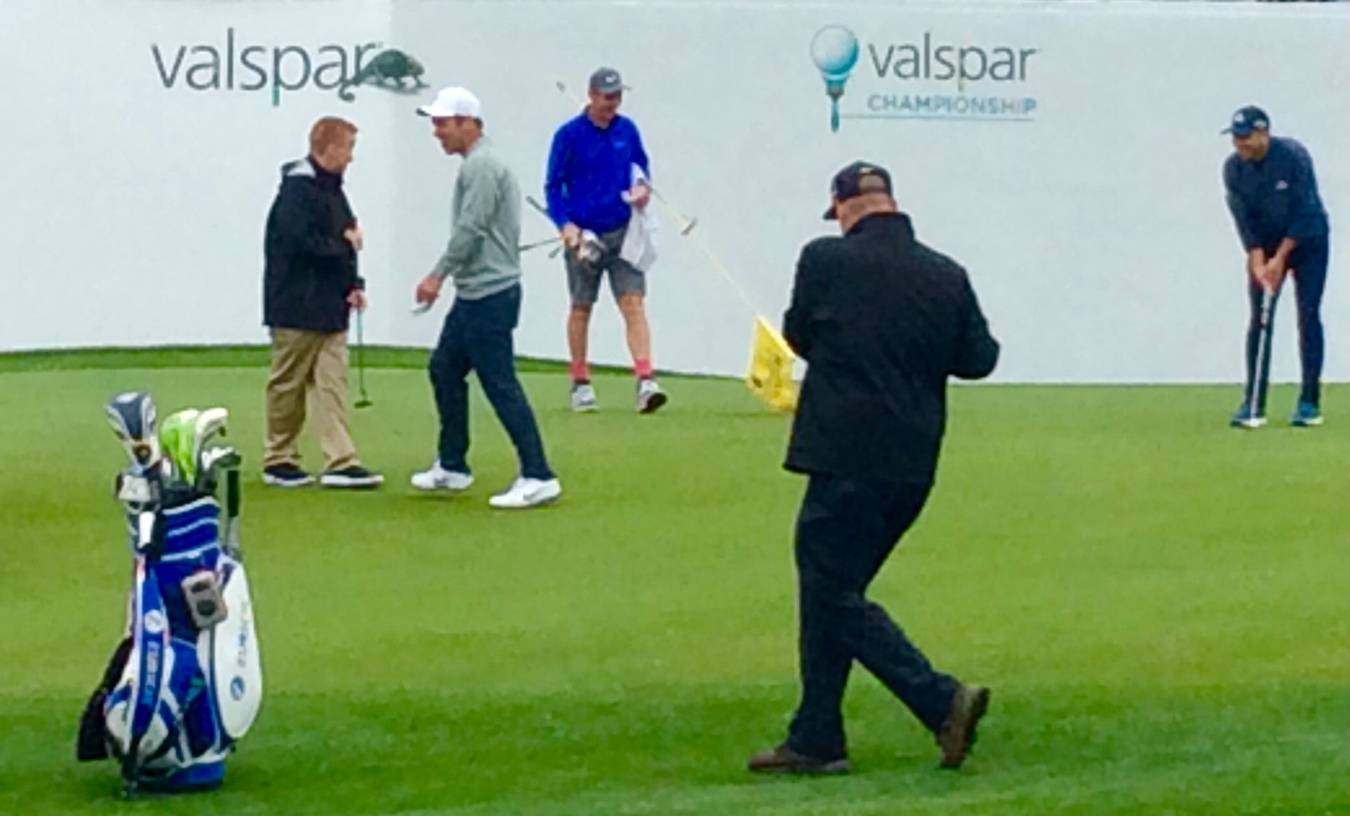 Ronan, Paul Casey and Sergio Garcia on the 18th green (March 2019)
