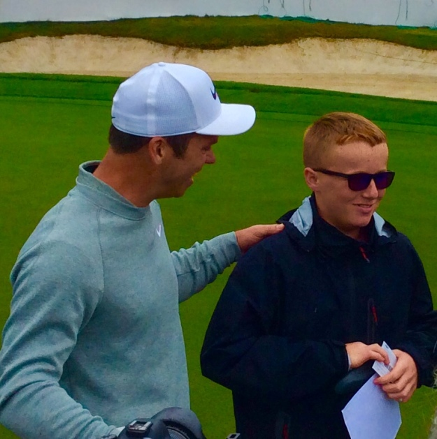 PGA Valspar Champion, Paul Casey, and Ronan, finishing up the 18th hole (March 2019)