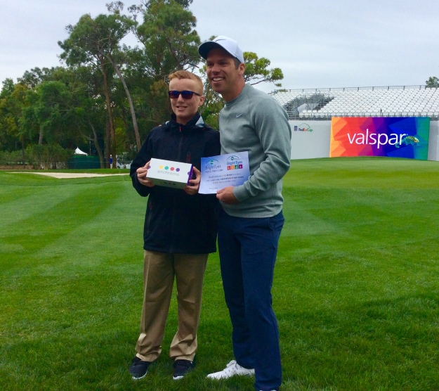 Reigning PGA Valspar Champion Paul Casey giving Ronan his new EnChroma glasses! (March 2019)