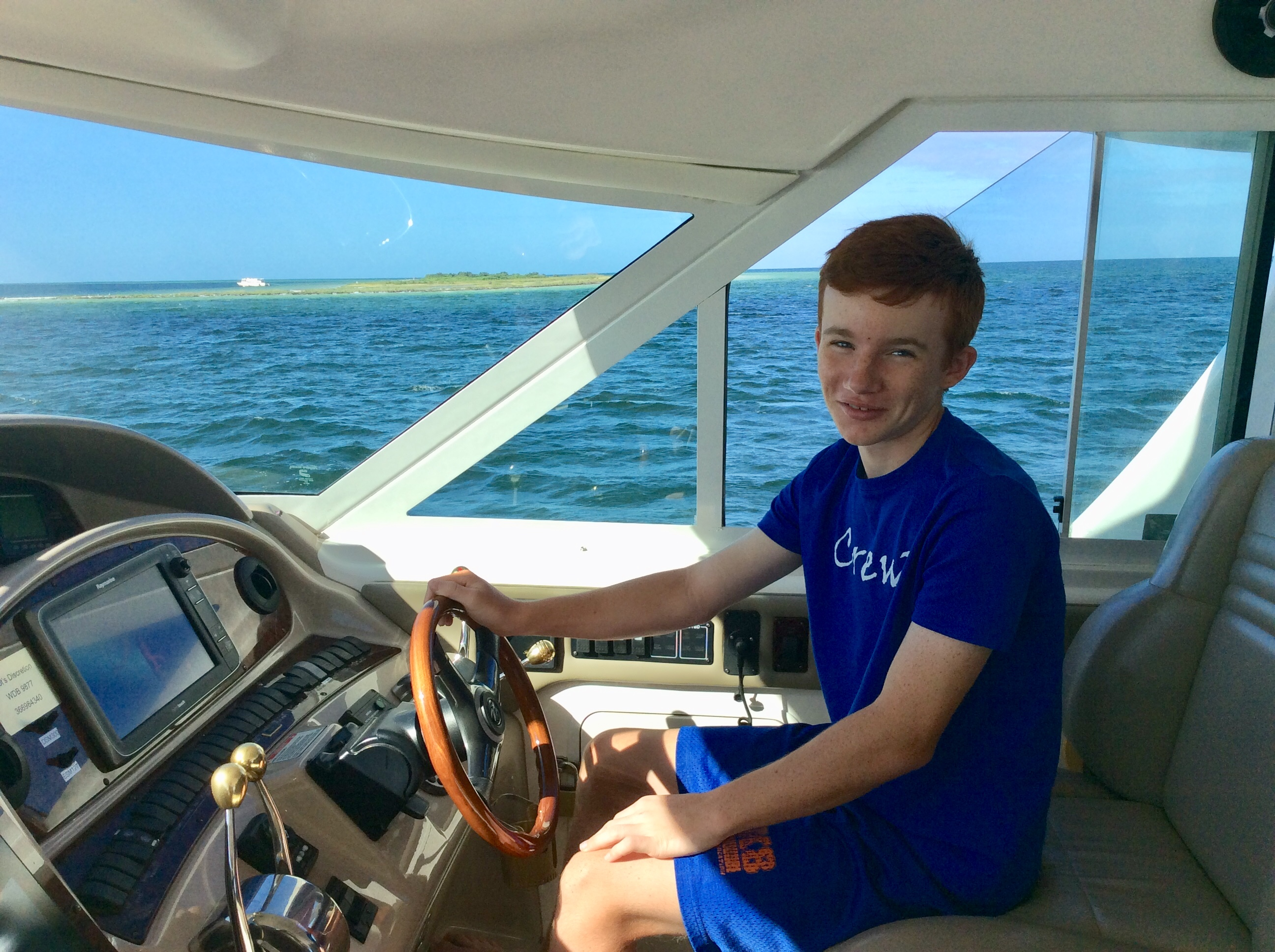 Ryan at the helm cruising past Three Rooker Bar (Nov. 2019)